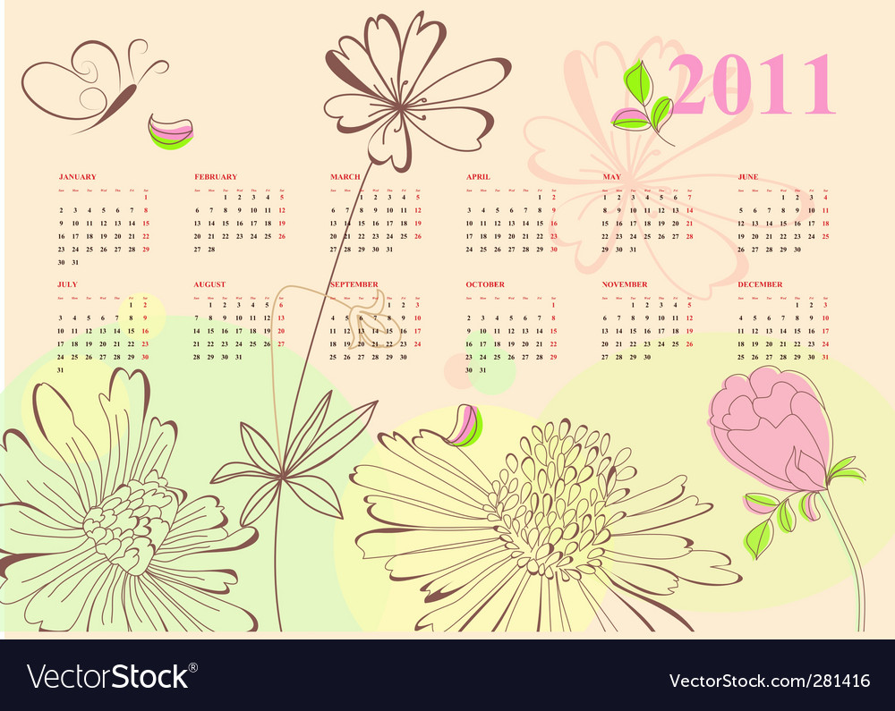 Romantic Calendar For 2011 Vector. Artist: Ateli; File type: Vector EPS