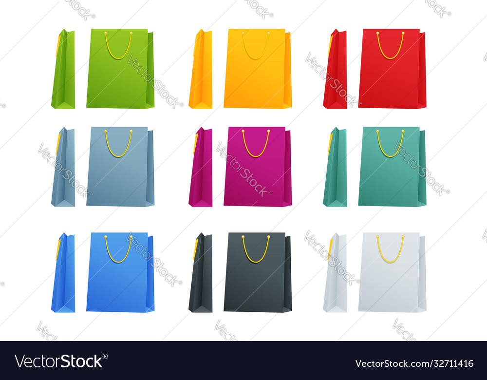 Set colorful empty shopping bags isolated in