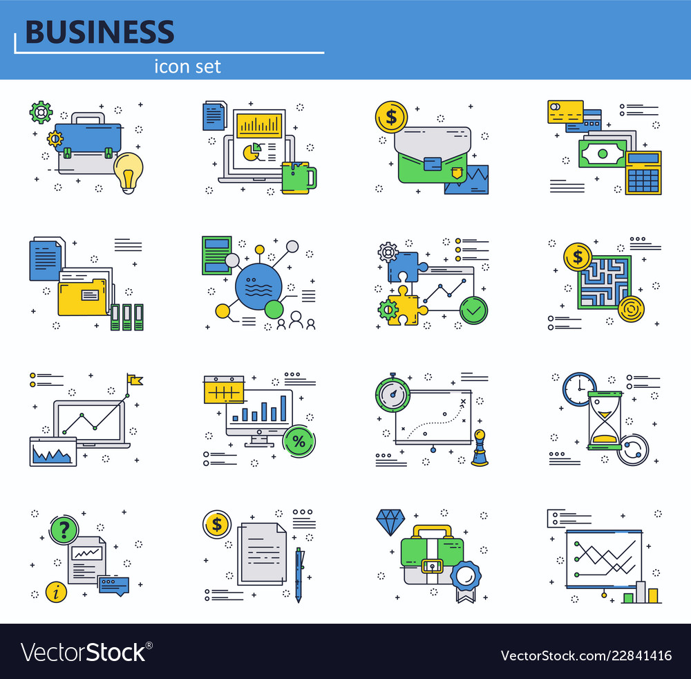 Set of business finance and office icons