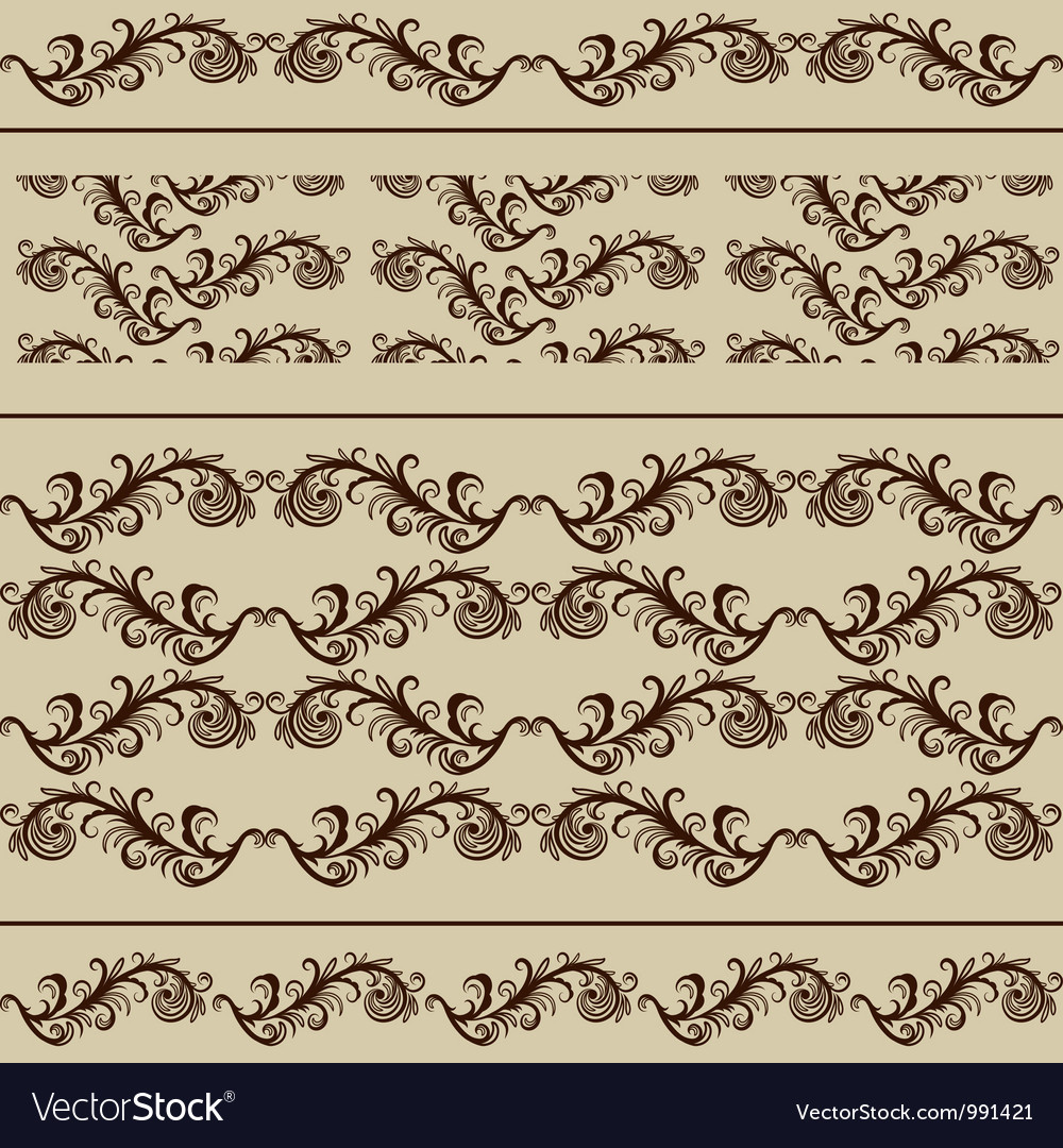 2 Vintage Borders and 2 Seamless Patterns