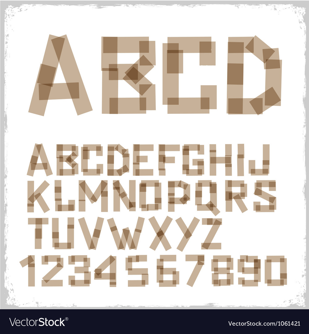 Alphabet letters and numbers made from adhesive