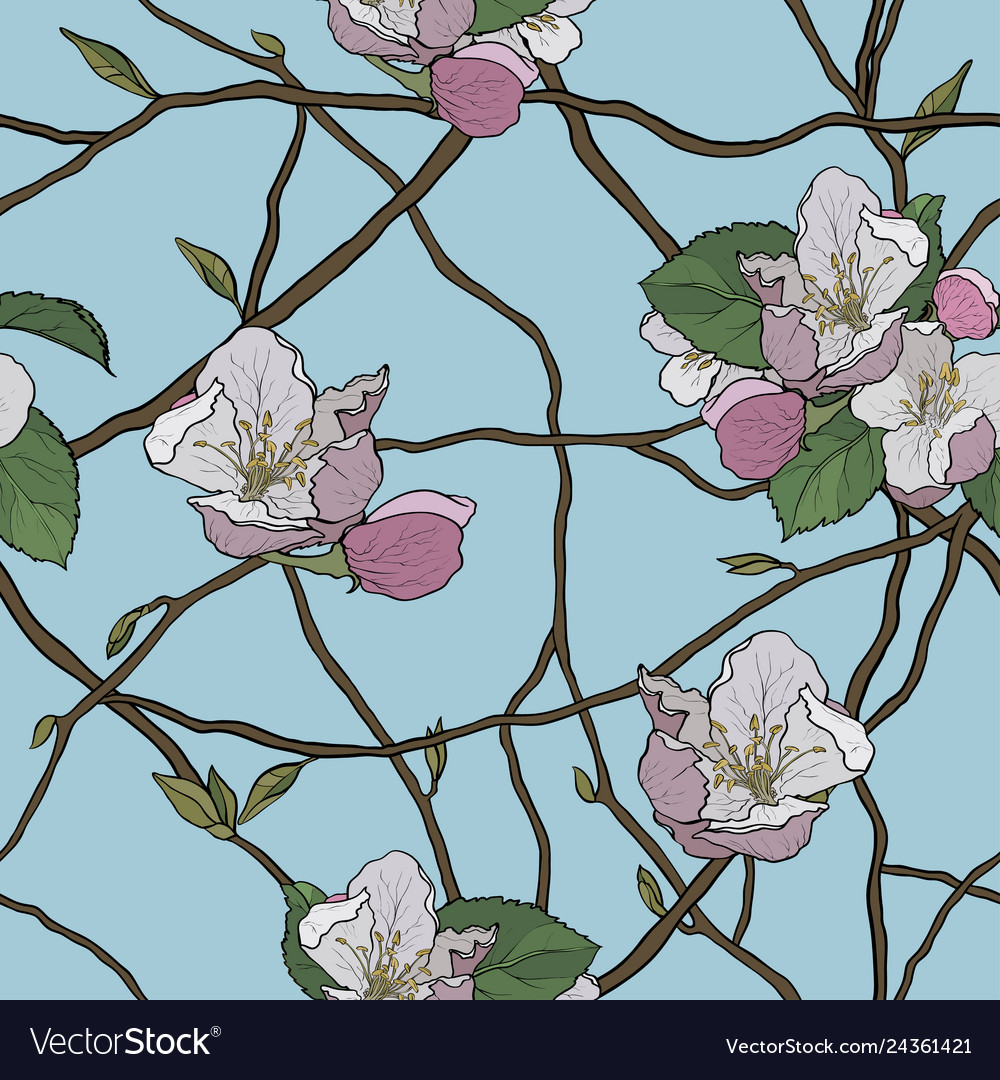 Beautiful seamless pattern of blooming branches