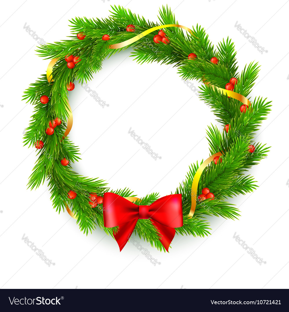 Christmas wreath fir branches red berries