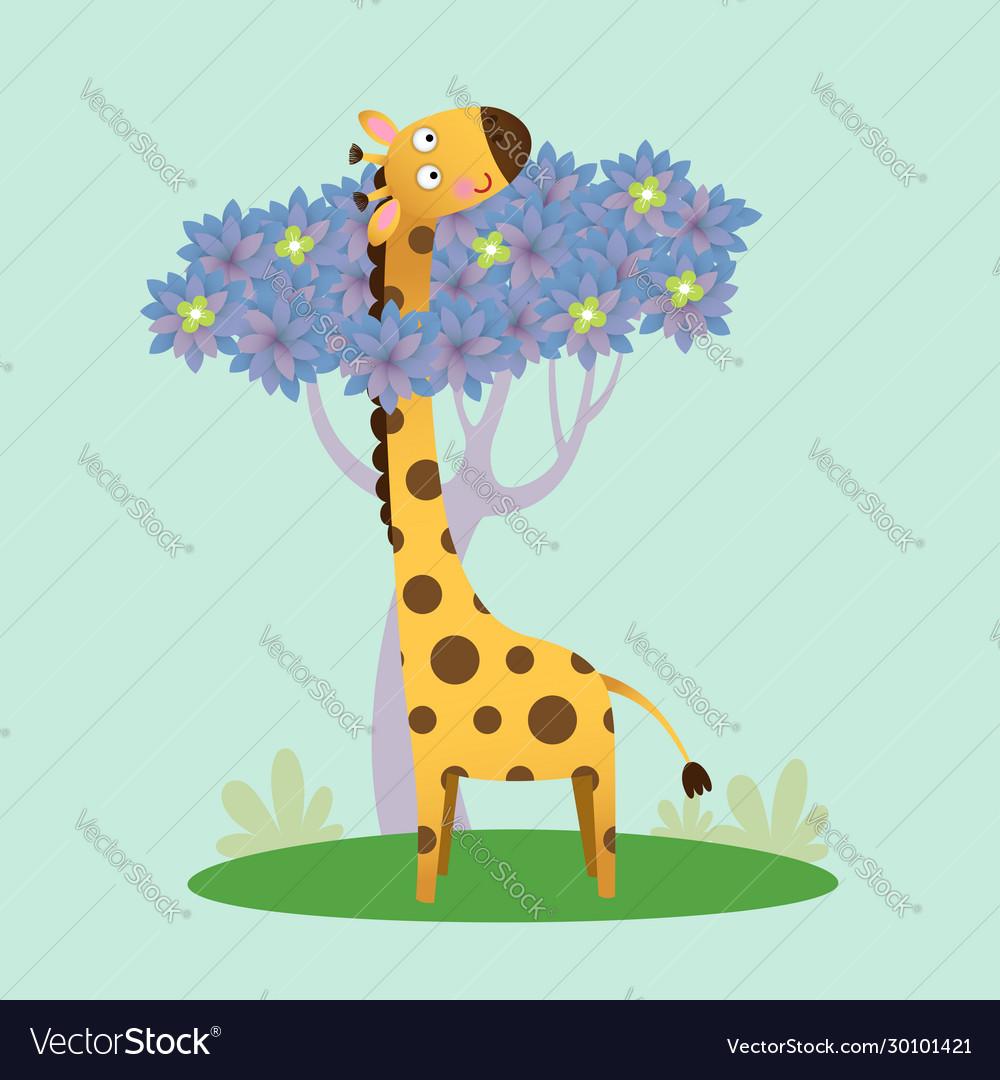 Cute giraffe standing with tree