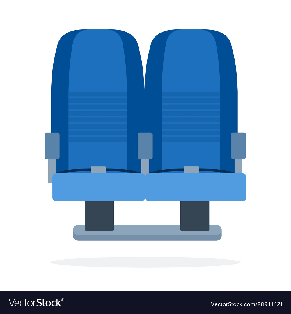 Dual seats aircraft flat material design isolated