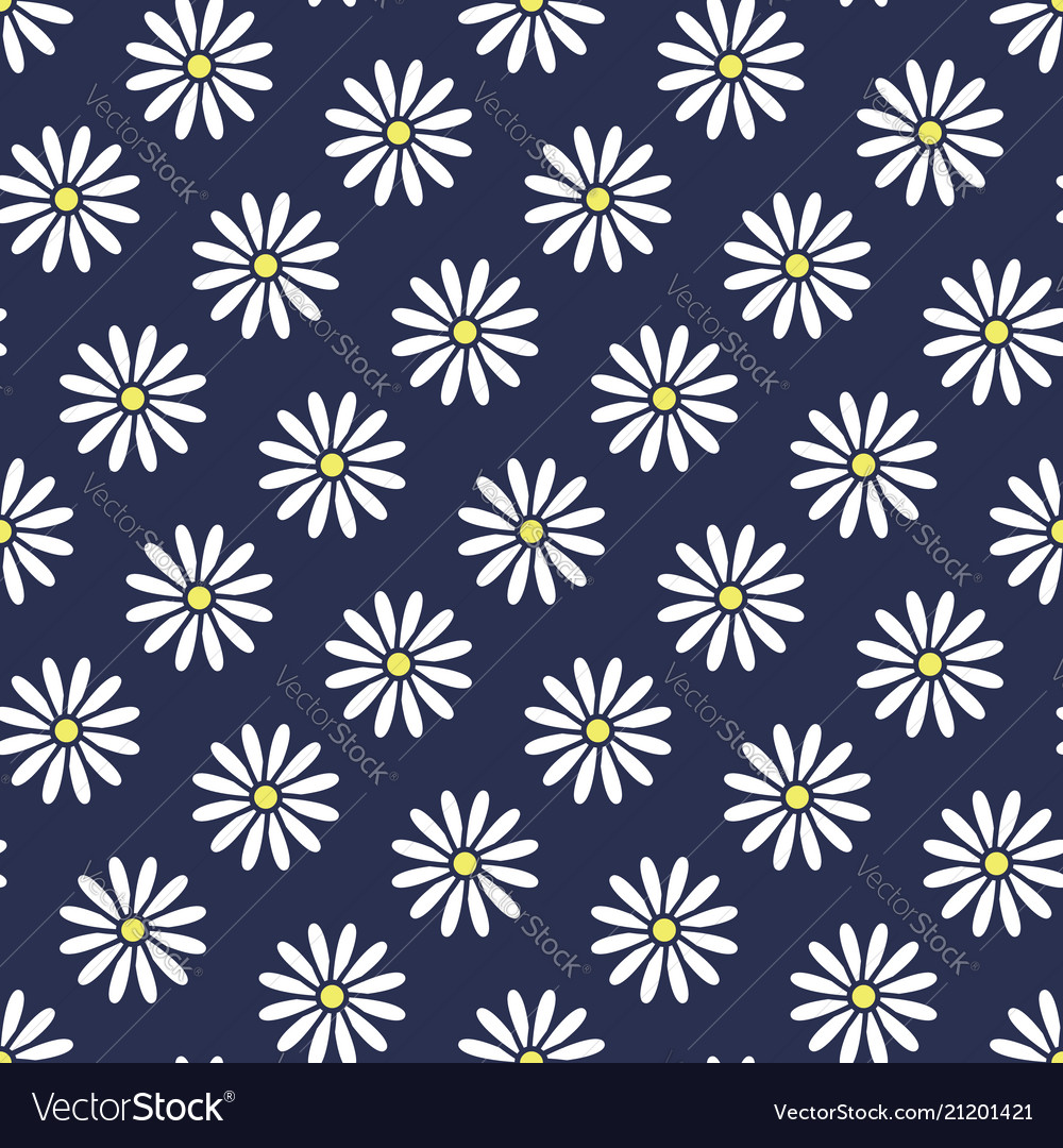 Floral seamless pattern with flat icons of daisy