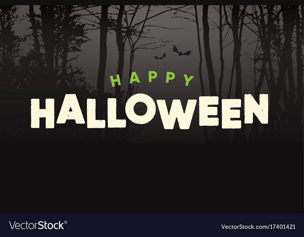 Happy-halloween-title-logo-with-night-forest vector image
