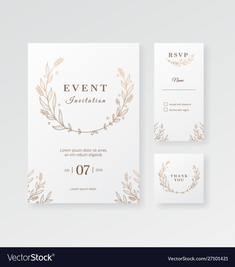 Modern minimalist event and wedding invitation Vector Image