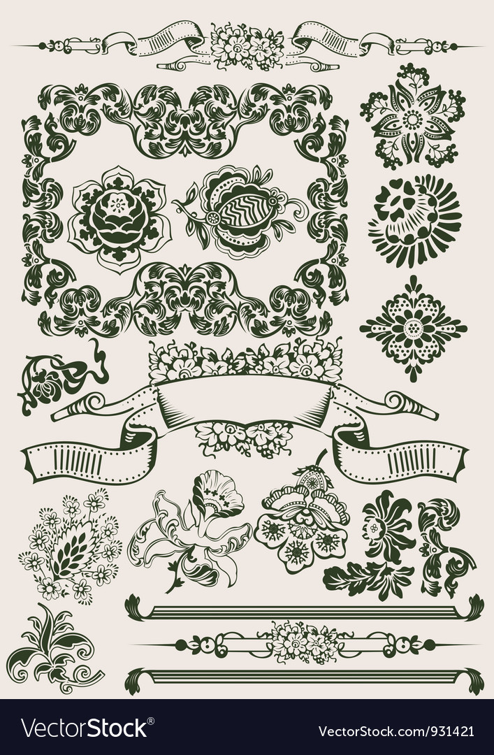 One Color Flowers Vintage Clipart vector image