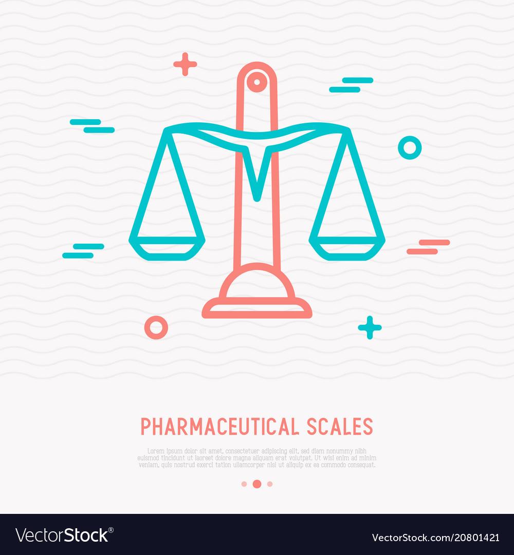 Pharmaceutical scales thin line icon