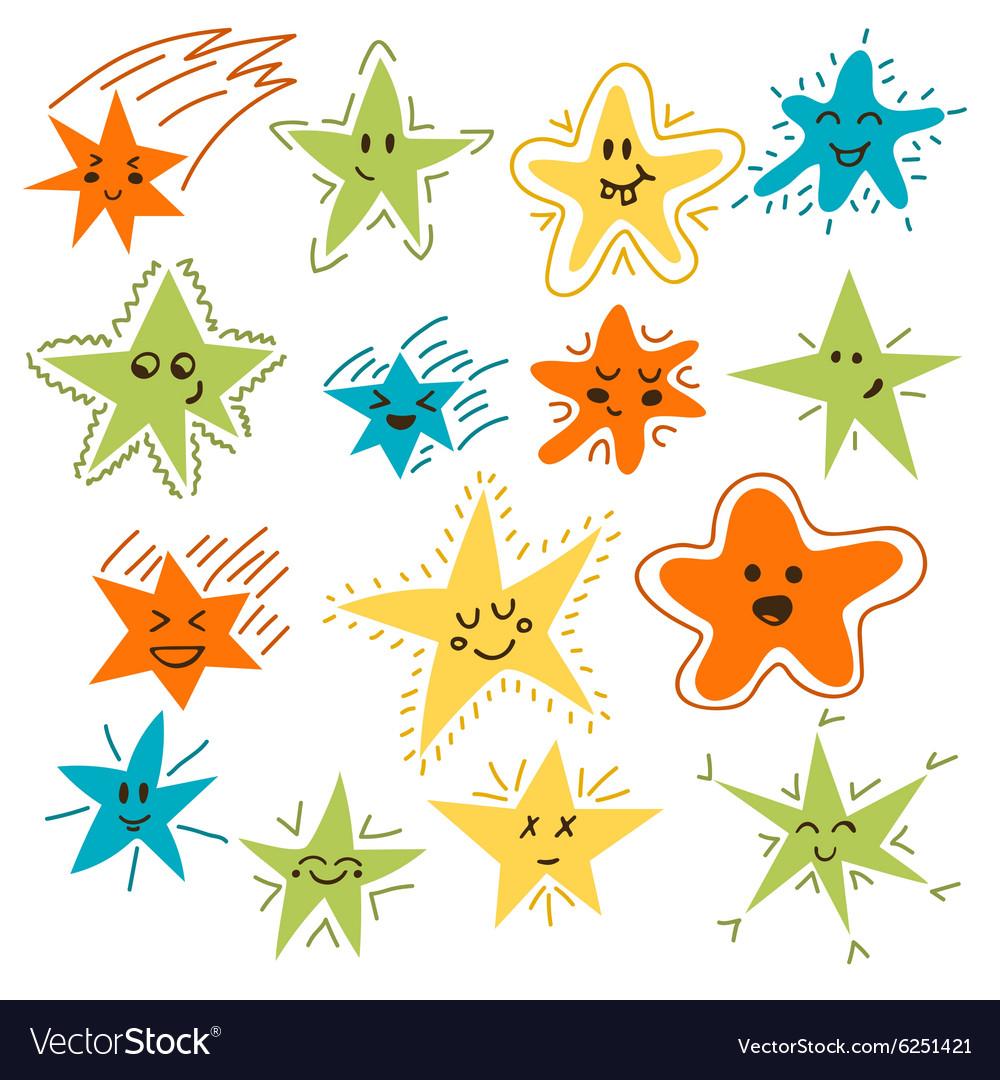 Set of hand drawn funny stars Cartoon comic style