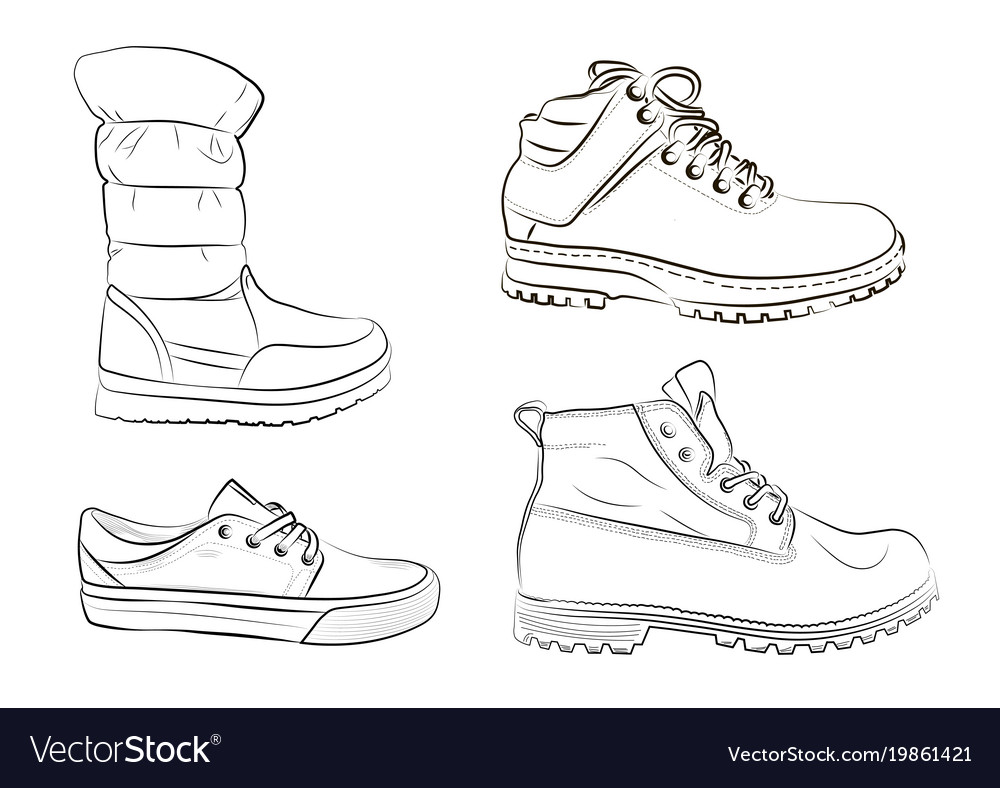 Sketch of mens and womens shoes
