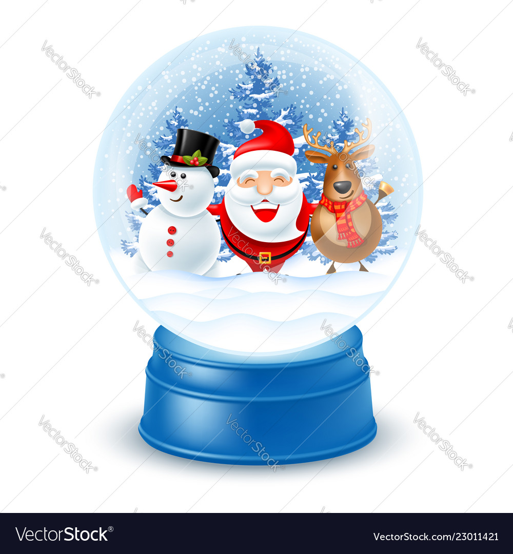 Snowglobe with santa claus snowman and reindeer