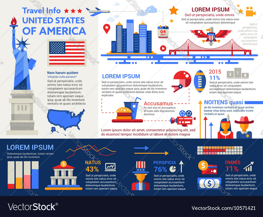 usa travel info poster brochure cover template vector image