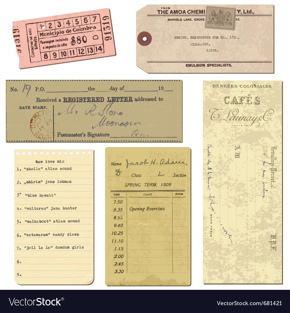 Vintage paper ticket elements vector image
