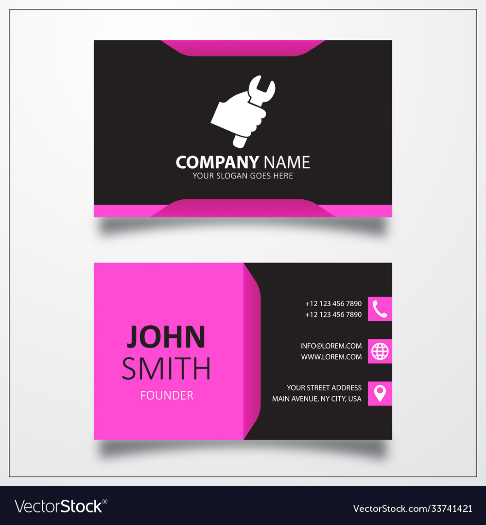 Work tool in hand icon business card template