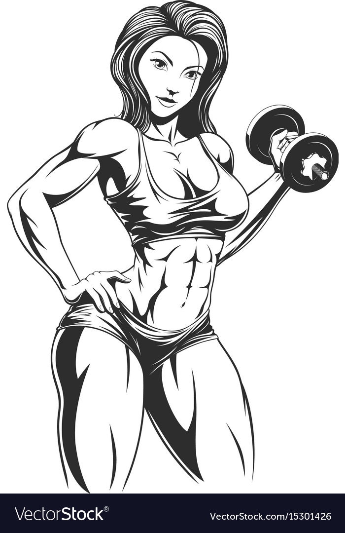 Beautiful girl with dumbbells