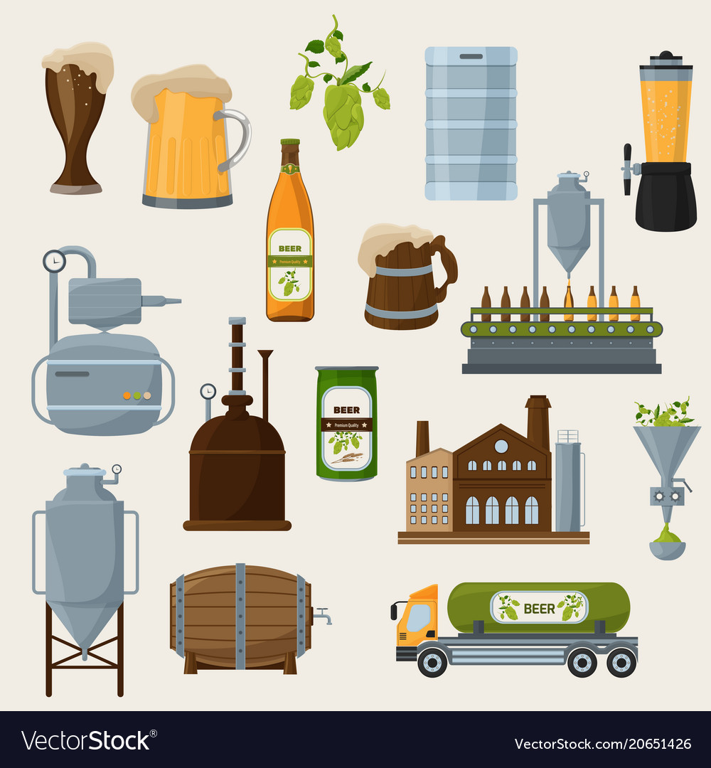 Beer orthogonal icons set vector image