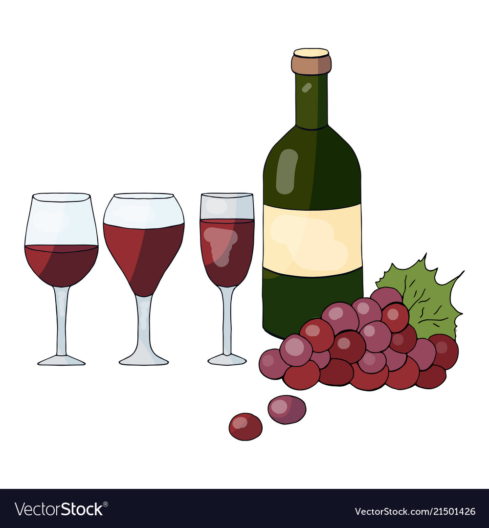 Bottle with wine grapes and wine glasses