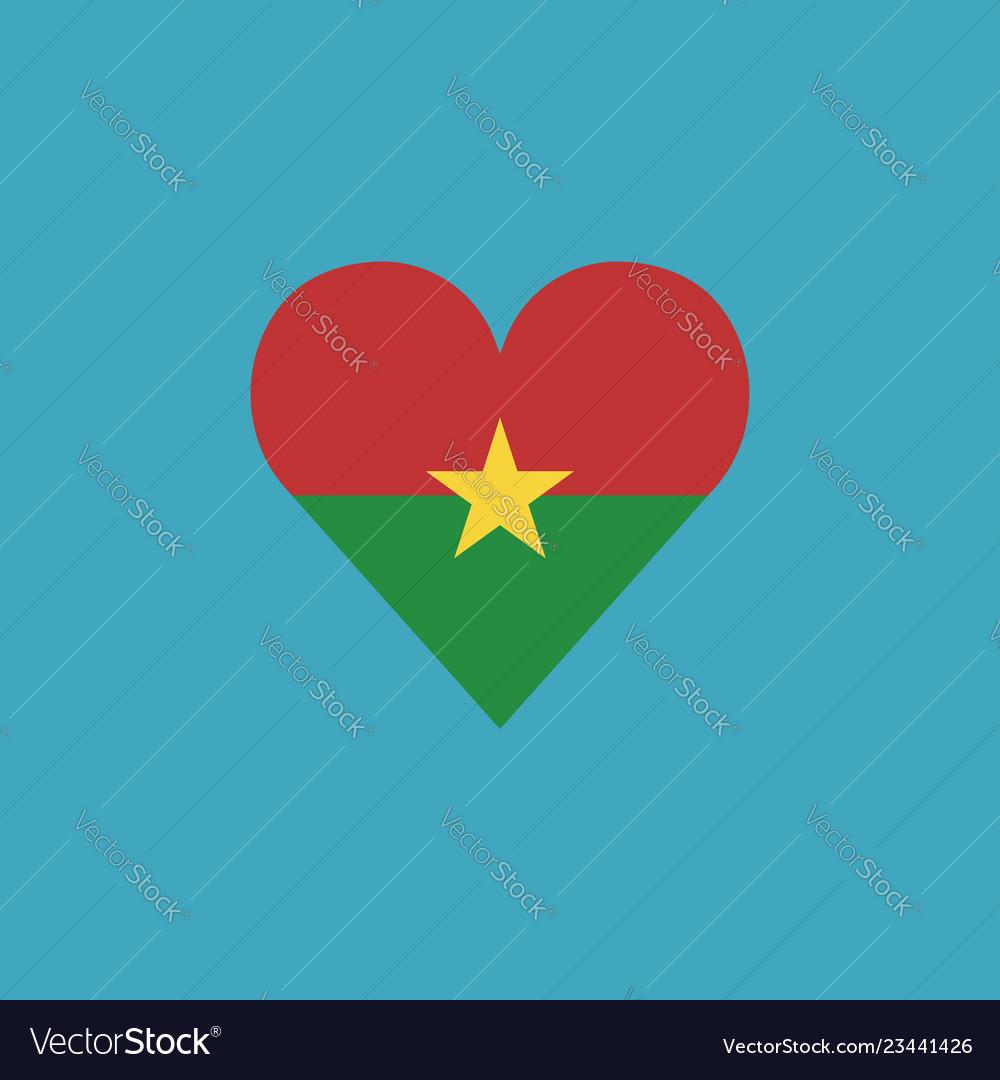 Burkina faso flag icon in a heart shape in flat