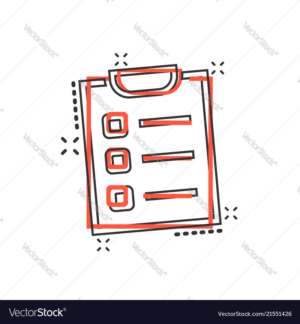Cartoon to do list icon in comic style checklist