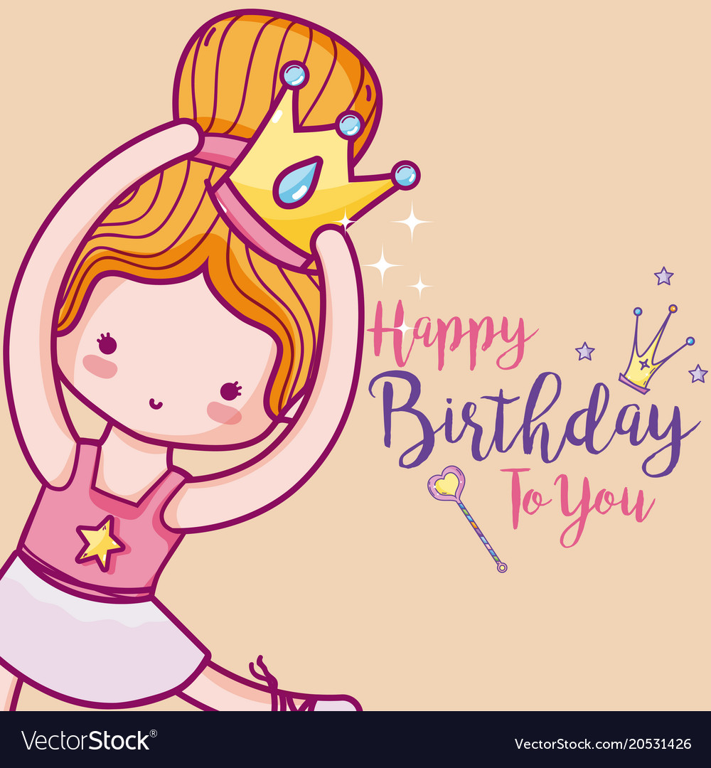 Happy birthday with cute ballet dancer card vector image