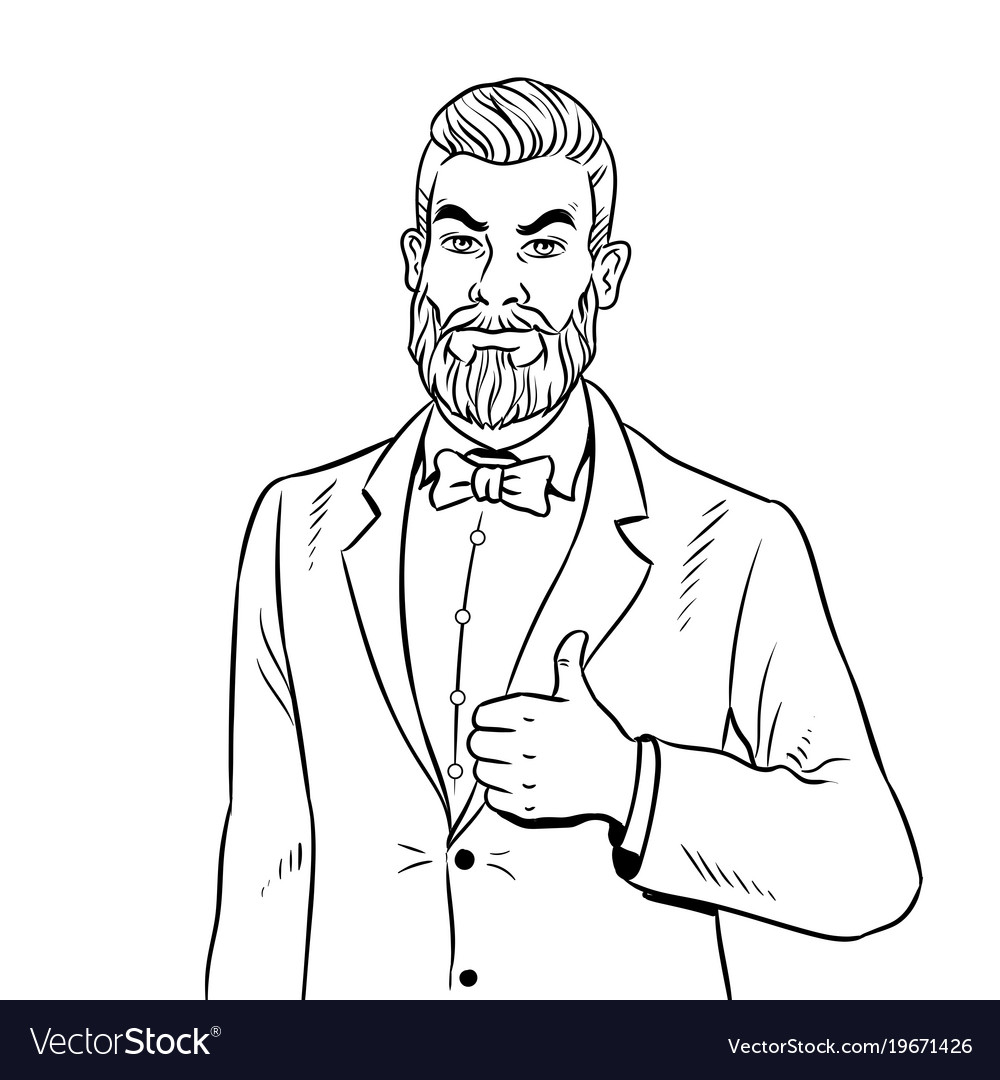 Man with beard thumbs up coloring book Royalty Free Vector