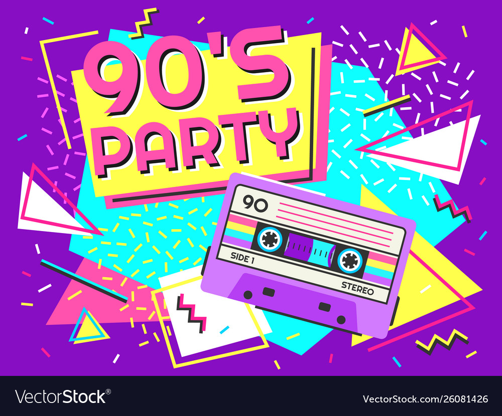 Retro party poster nineties music vintage tape