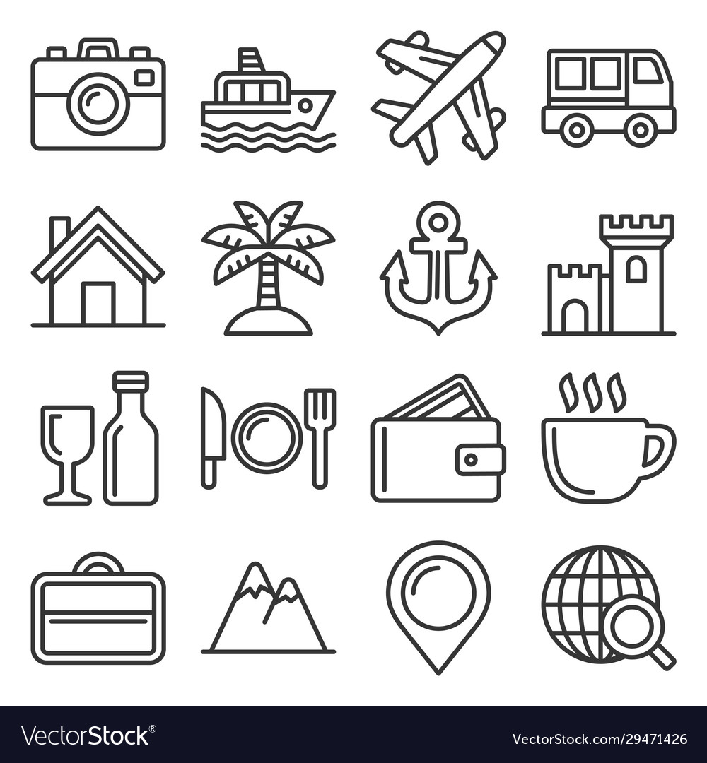 Travel and transport icons set line style