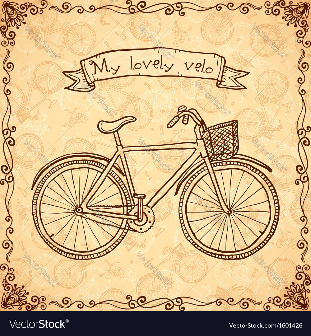 Vintage bicycle hand drawn card