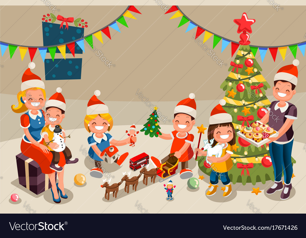 Winter christmas party with kids people Royalty Free Vector