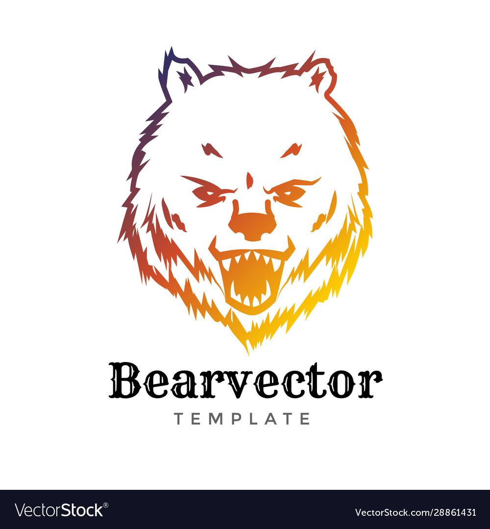 Bear sport logo concept isolated on white