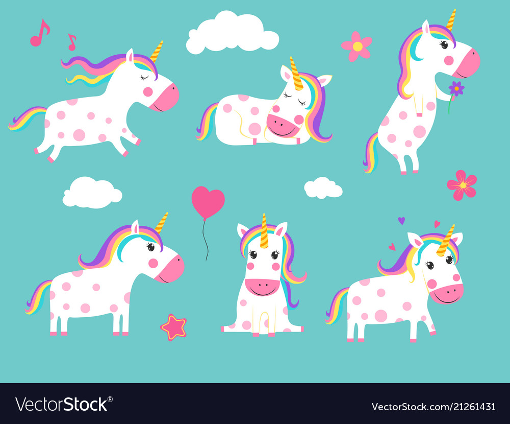 Cartoon unicorns cute fairy tale animals in
