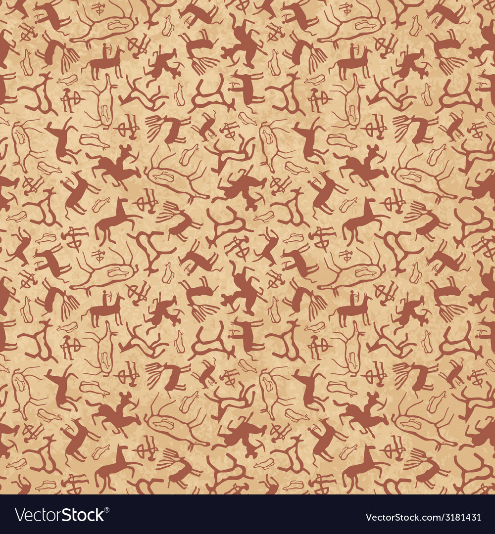 Cave art seamless vector image