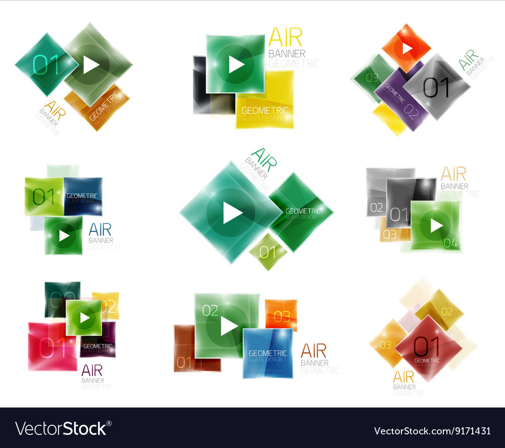 Collection of colorful square web boxes