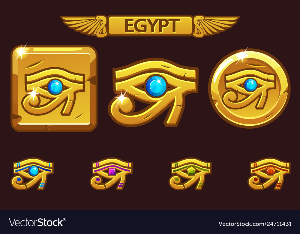Egypt eye of horus with colored precious gems