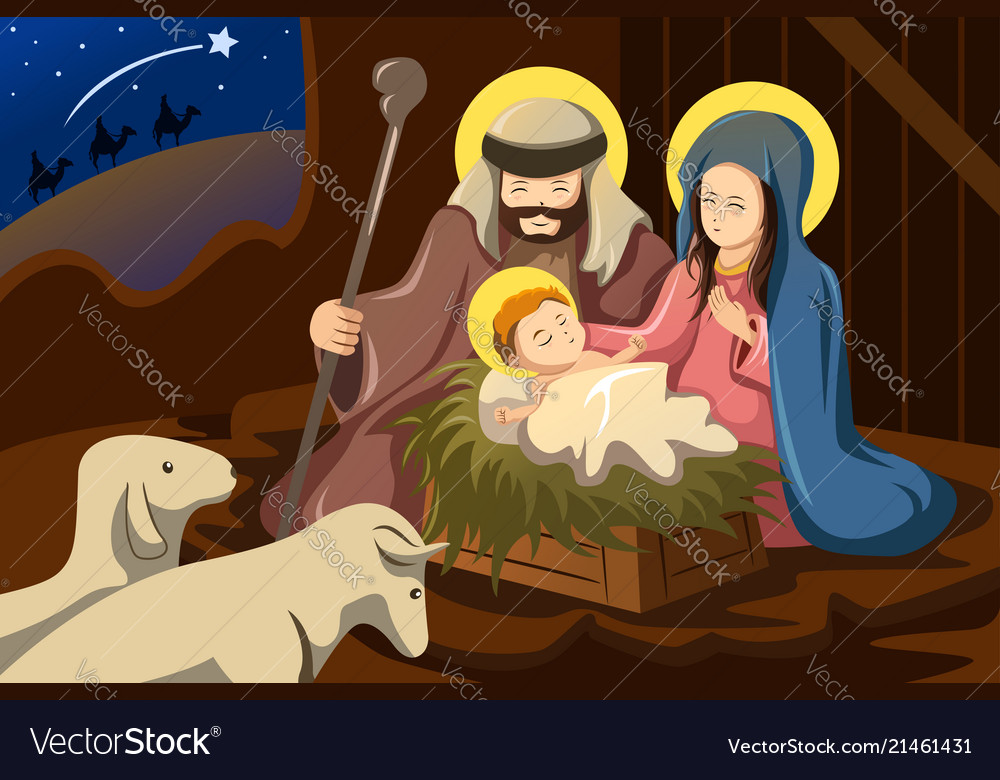 joseph mary and baby jesus royalty free vector image