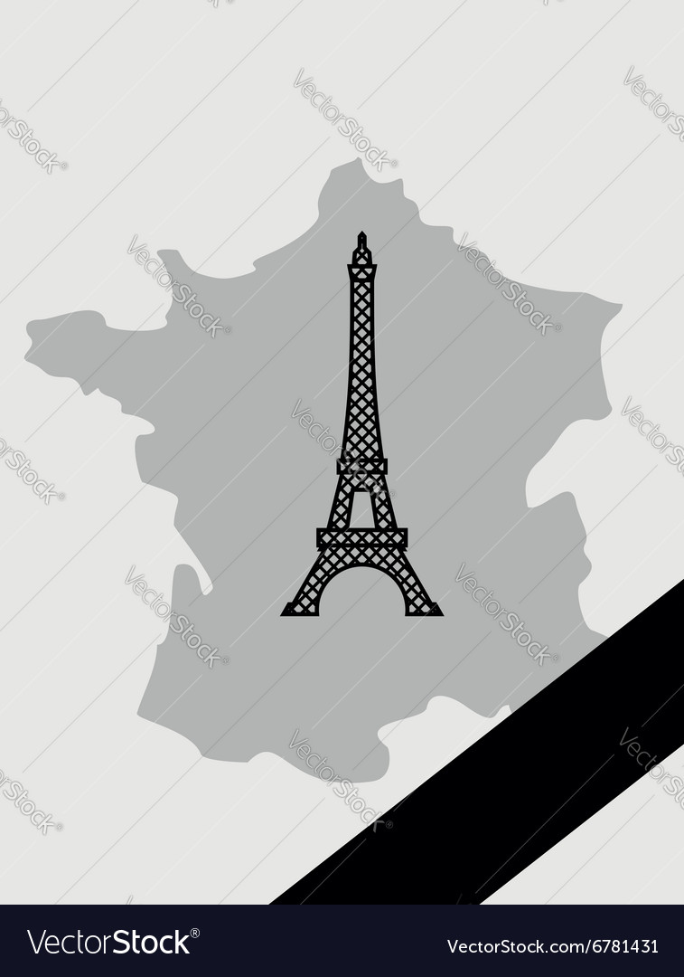 Map of France with mourning Ribbon mourned in act vector image