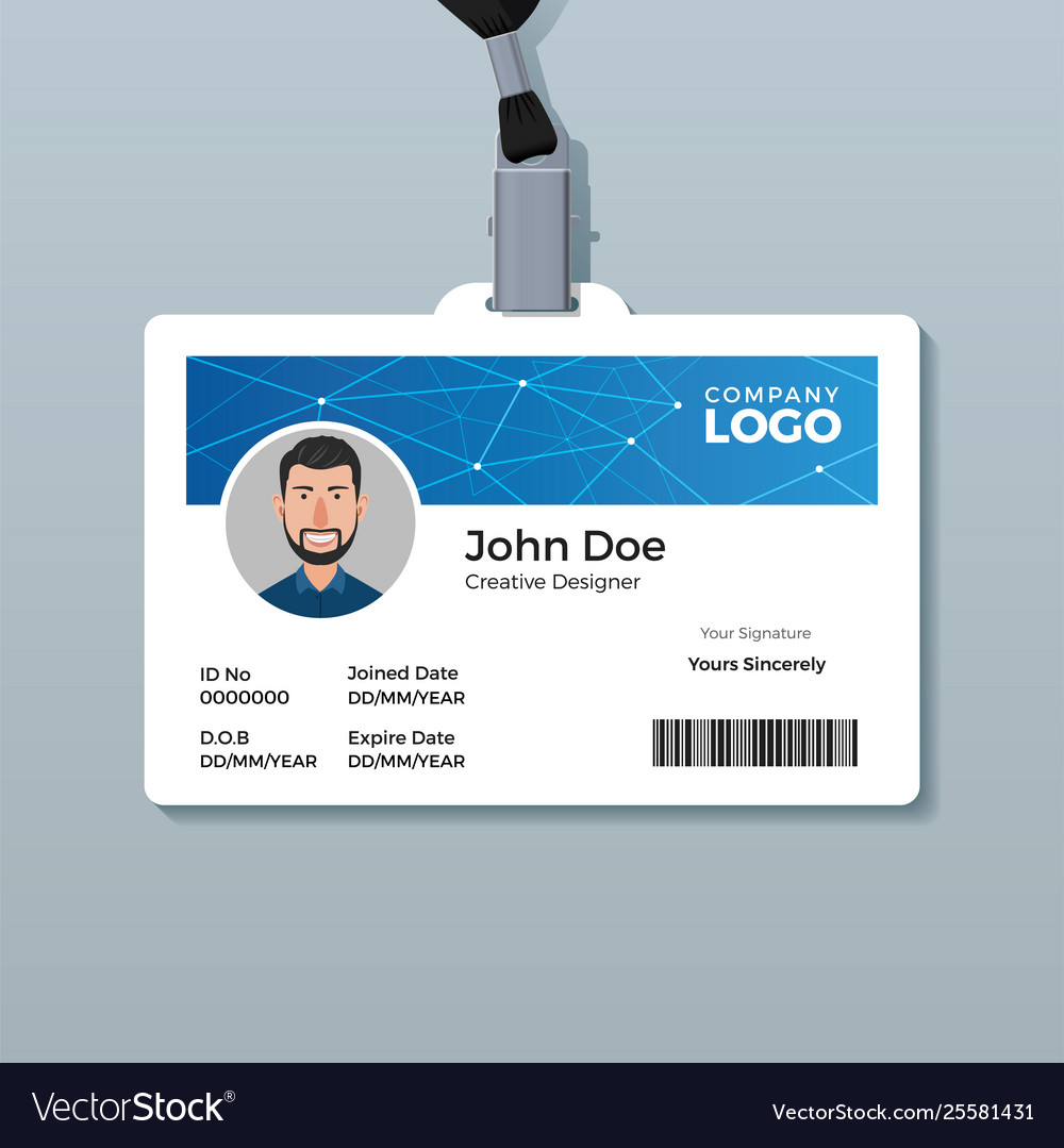 Modern Blue Polygon Id Card Template Royalty Free Vector