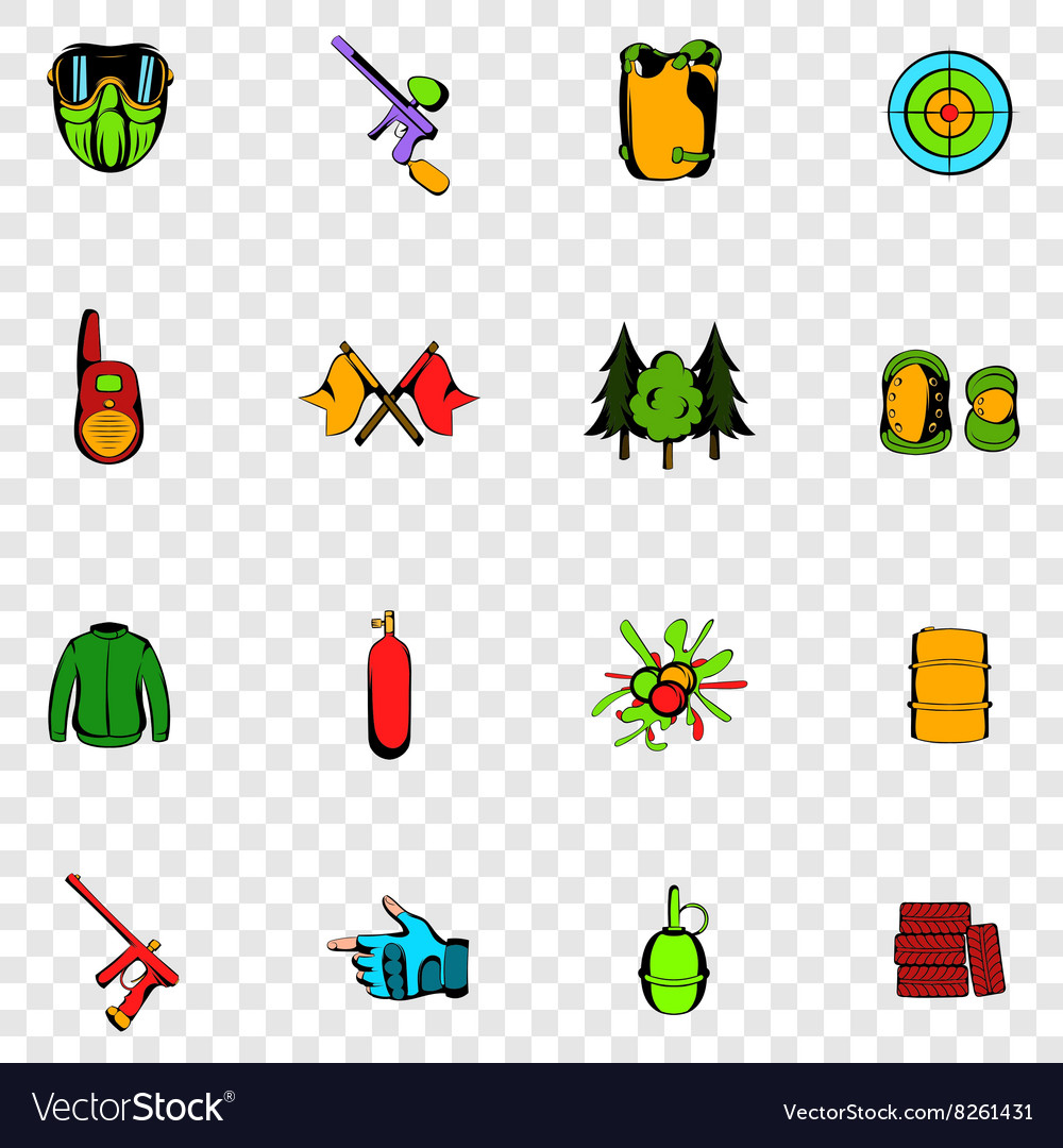 Paintball set icons vector image
