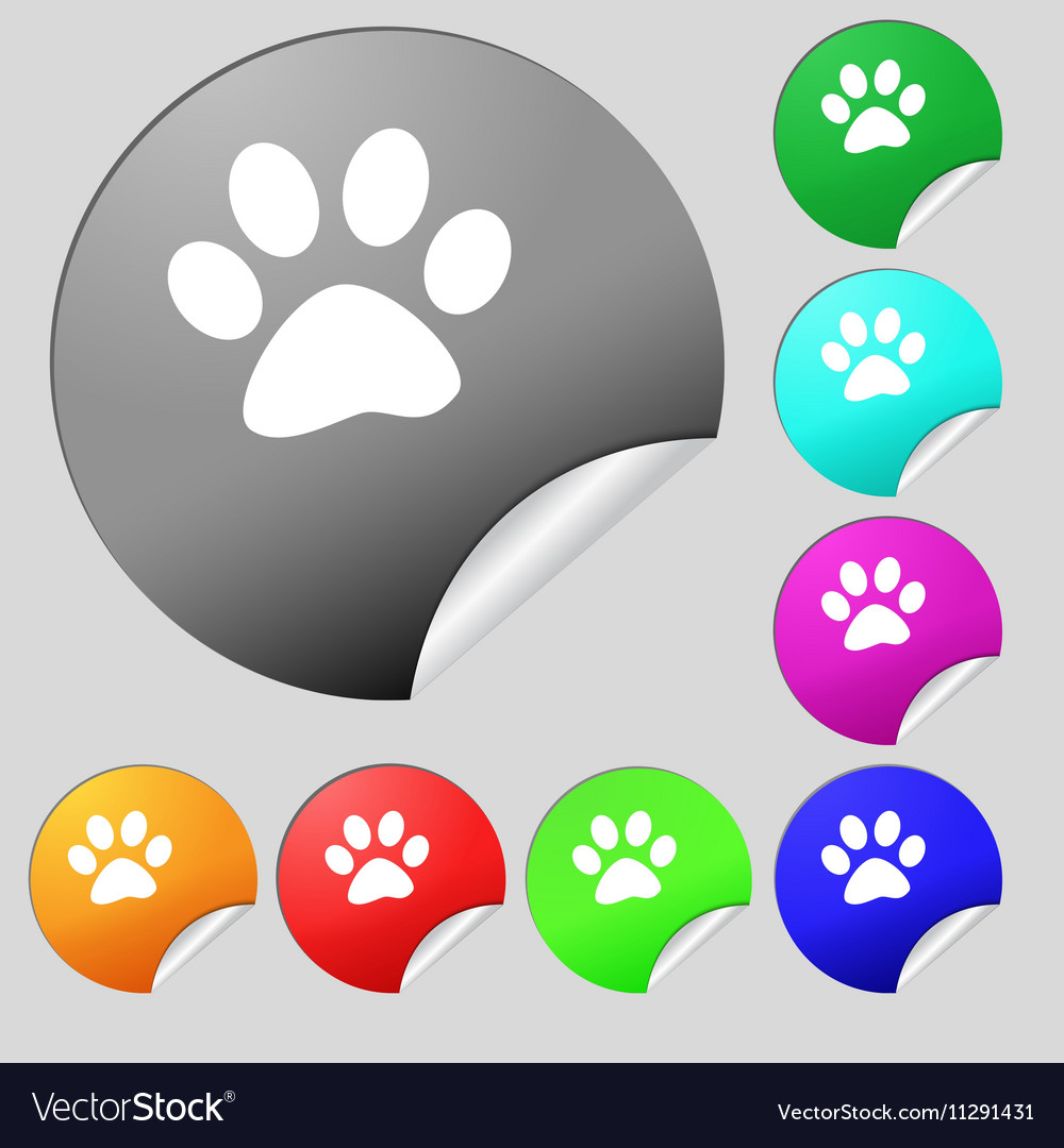 Paw icon sign Set of eight multi colored round