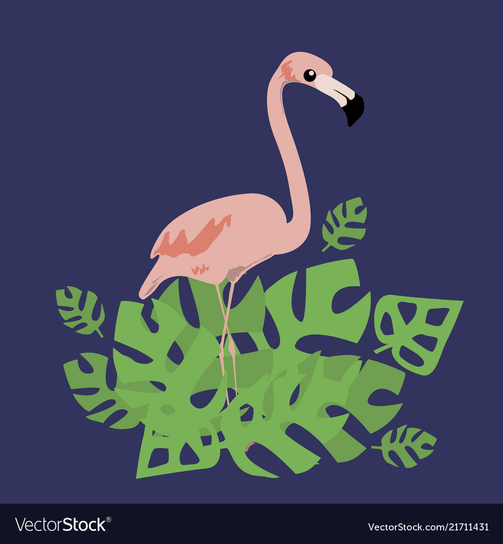 Pink flamingo and tropical leaves