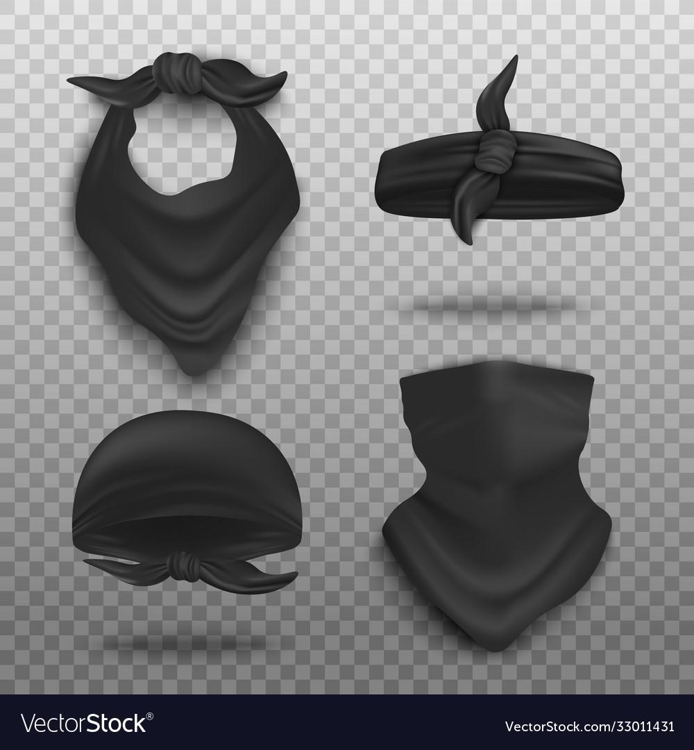 Realistic black bandana mockup set - neck scarf