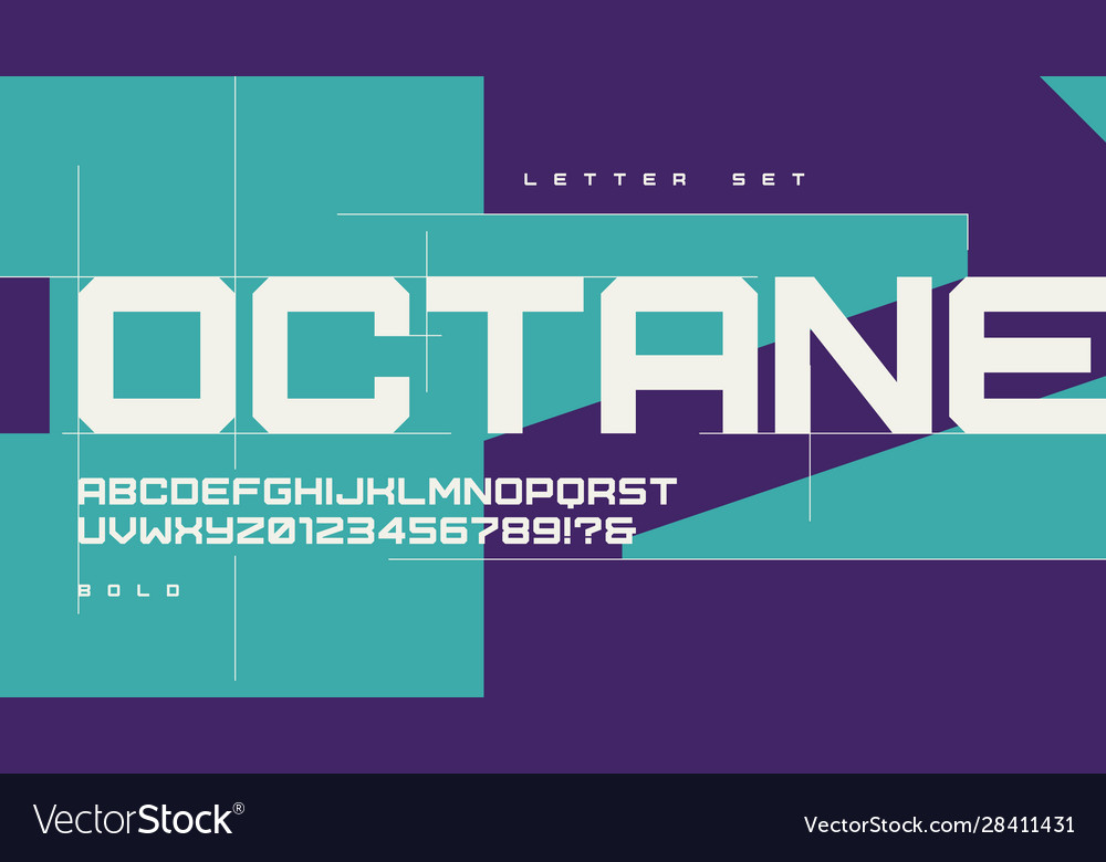 Sans serif bold urban geometric letter set