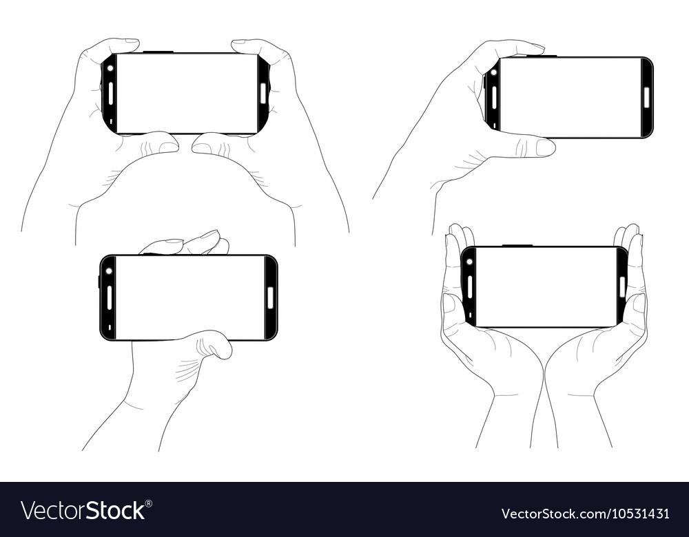 Set of hands with smartphones