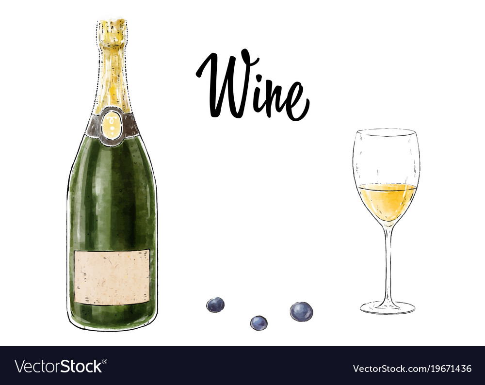 Bottle of wine with a glass isolated on white