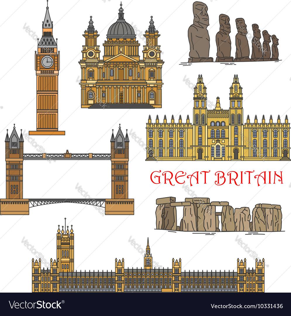 Chilean and british tourist landmark icons