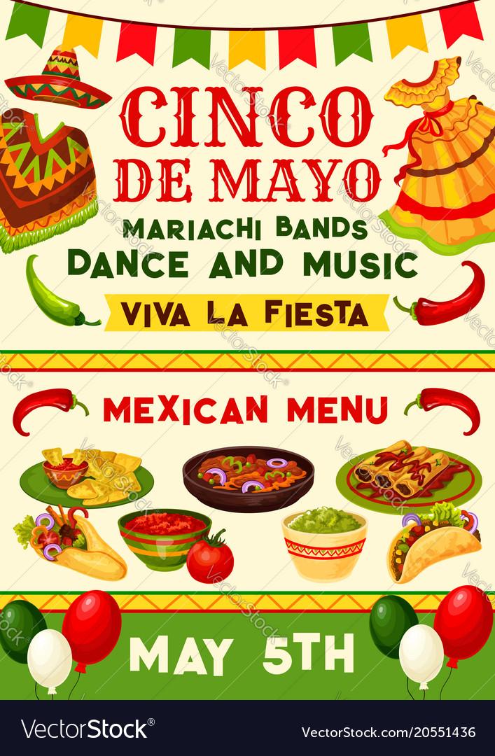 Cinco De Mayo Mexican Fiesta Party Invitation Vector Image