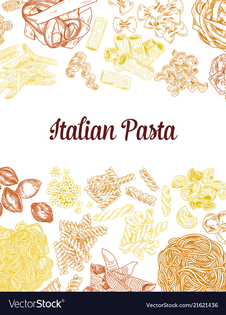 Colored hand drawn pasta elements vintage
