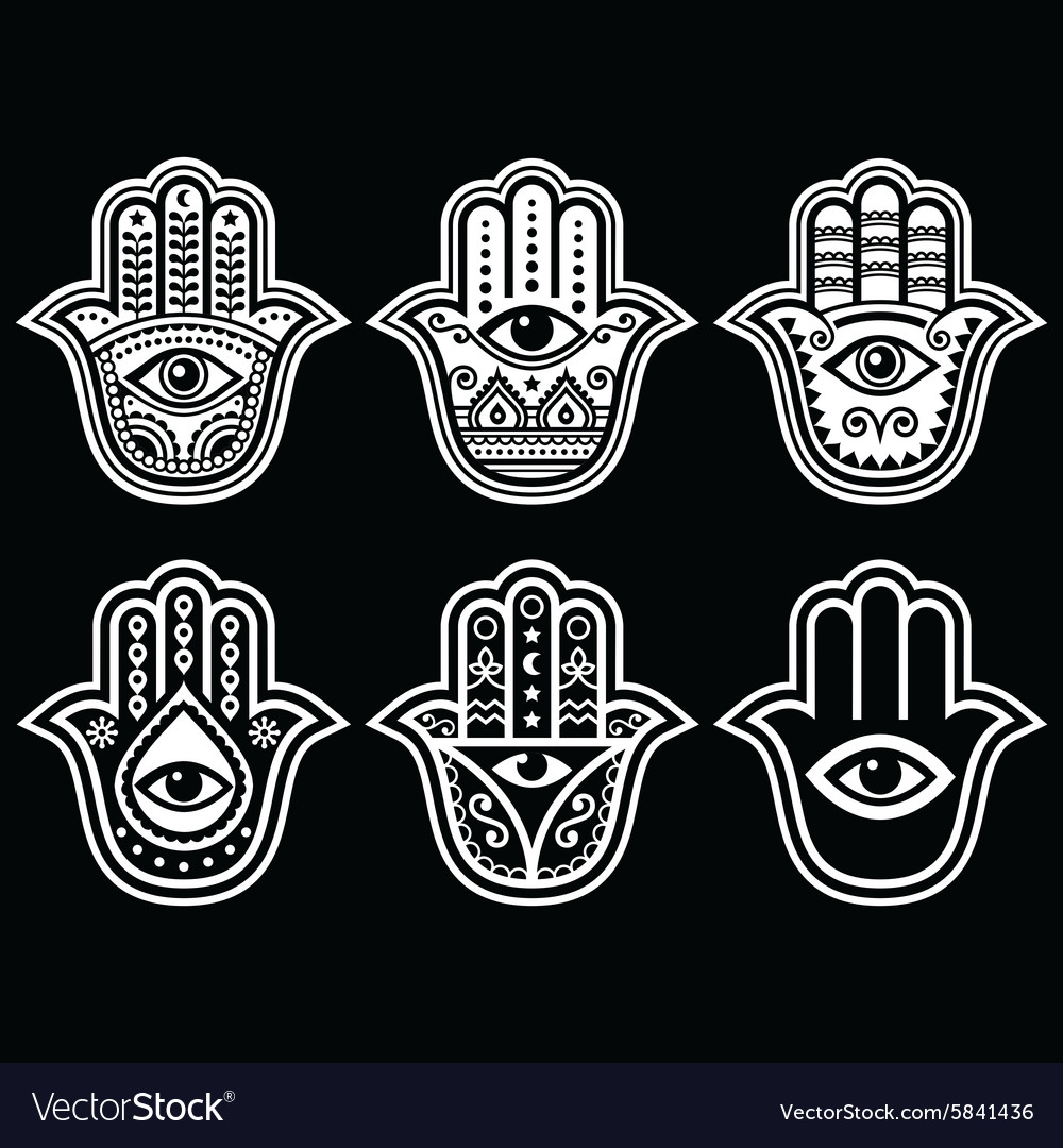 hamsa hand hand of fatima amulet protection vector image